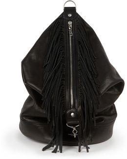 Fringed Leather Sac Backpack