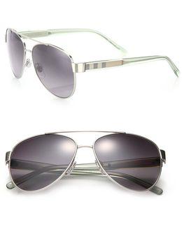 Pilot Double-bridge Metal Sunglasses