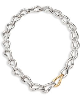 Bamboo Sterling Silver & 18k Yellow Gold Link Necklace