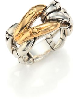 Bamboo 18k Yellow Gold & Sterling Silver Link Ring
