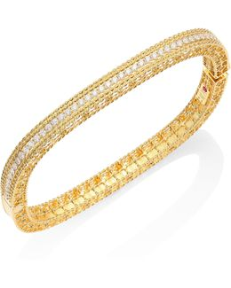 Princess Braided Diamond & 18k Yellow Gold Bangle Bracelet
