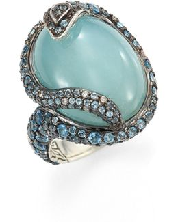 Legends Cobra Batu Diamond, Aquamarine, Swiss Blue Topaz & Sterling Silver Oval Ring