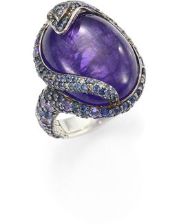 Legends Cobra Batu Diamond, Blue Sapphire, Tanzanite Lava & Sterling Silver Oval Ring