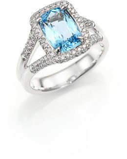 Classic Chain Diamond, Blue Topaz & Sterling Silver Ring