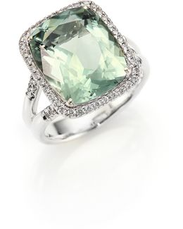 Classic Chain Diamond, Prasiolite & Sterling Silver Ring