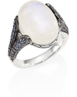 Batu Classic Chain Blue Sapphire, Rainbow Moonstone & Sterling Silver Batu Ring