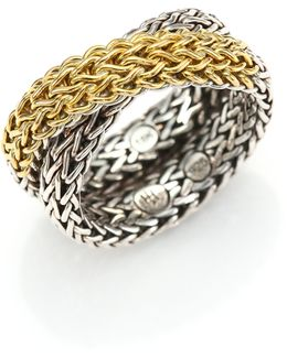 Classic Chain 18k Yellow Gold & Sterling Silver Ring