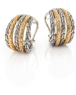 Classic Chain 18k Yellow Gold & Sterling Silver Small Hoop Earrings/0.5