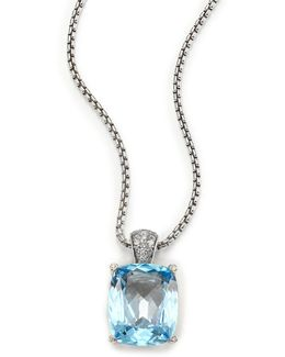 Classic Chain Diamond, Blue Topaz & Sterling Silver Pendant Necklace