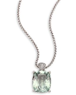 Batu Classic Chain Diamond, Green Amethyst & Sterling Silver Pendant Necklace