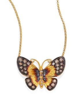Butterflies Diamond & 18k Yellow Gold Pendant Necklace