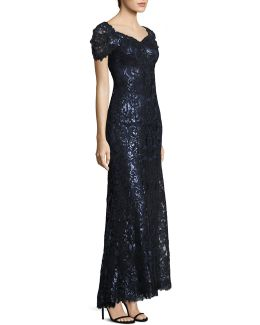 Sequined Lace Off-shoulder Sweetheart Gown