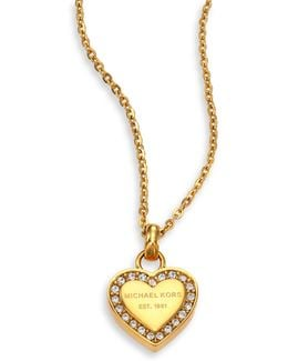 Heritage Hearts Pave Logo Pendant Necklace/goldtone