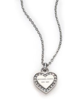 Heritage Hearts Pave Logo Pendant Necklace/silvertone