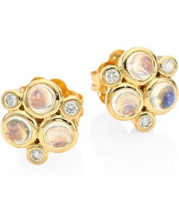 Classic Color Diamond, Blue Moonstoon & 18k Yellow Gold Trio Earrings