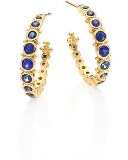 Small Eternity Blue Sapphire & 18k Yellow Gold Hoop Earrings/0.4
