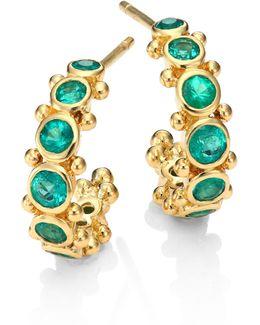 Eternity Emerald & 18k Yellow Gold Hoop Earrings/0.4