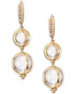 Double Amulet, Rock Crystal, Diamond & 18k Yellow Gold Drop Earrings
