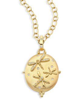 Diamond & 18k Yellow Gold Dragonfly Locket