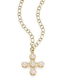 Small Classic 5mm White Pearl & Diamond Five-stone Cross Pendant