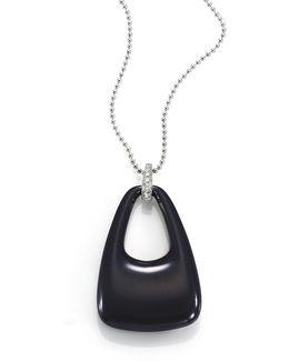 Madison Avenue Diamond, Ceramic & 18k White Gold Pendant Necklace