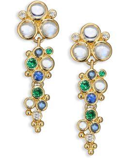 Mare Diamond, Royal Blue Moonstone, Blue Sapphire, Tsavorite & 18k Yellow Gold Drop Earrings