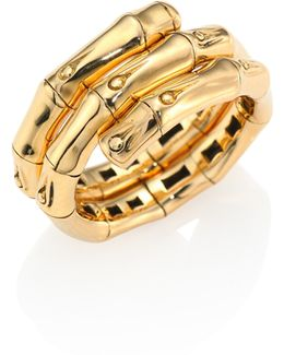 Bamboo 18k Yellow Gold Double Coil Ring