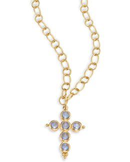 Blue Moonstone & 18k Yellow Gold Small Cross Pendant