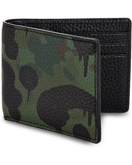 Paint Splattered Leather Bifold Wallet