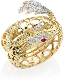Legends Naga Diamond, Ruby & 18k Yellow Gold Coil Ring