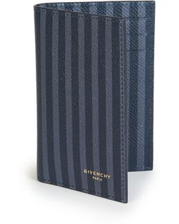 Striped Leather Bifold Card Case