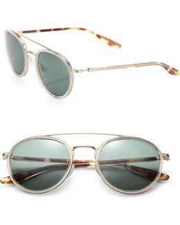 Round 52mm Acetate & Metal Sunglasses
