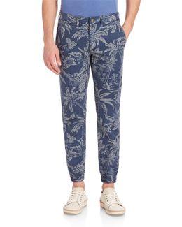 Tropical Print Slim-fit Pants