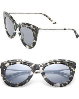 49mm Intrecciato-trim Cat's-eye Sunglasses