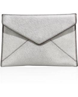 Leo Saffiano Leather Envelope Clutch
