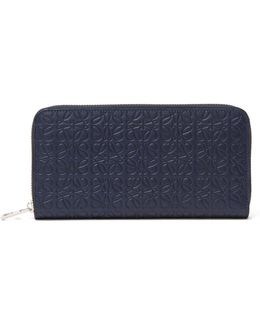 Embossed Leather Zip Continental Wallet