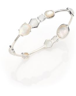 Rock Candy White Moonstone, Clear Quartz, Mother-of-pearl & Sterling Silver Bangle Bracelet