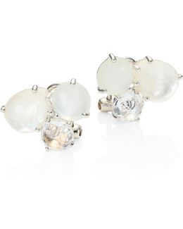 Rock Candy White Moonstone, Clear Quartz, Mother-of-pearl & Sterling Silver Stud Earrings