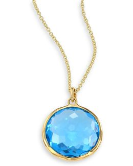 Lollipop Swiss Blue Topaz & 18k Yellow Gold Pendant Necklace