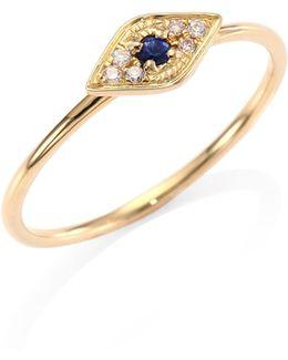 Diamond, Sapphire & 14k Yellow Gold Evil Eye Ring