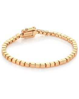 Mini Smooth Cube Bracelet/goldtone