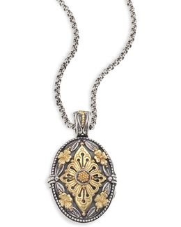 Hebe Engraved 18k Yellow Gold & Sterling Silver Pendant