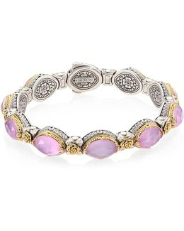 Pink Mother-of-pearl, Quartz Doublet, 18k Yellow Gold & Sterling Silver Bangle Bracelet