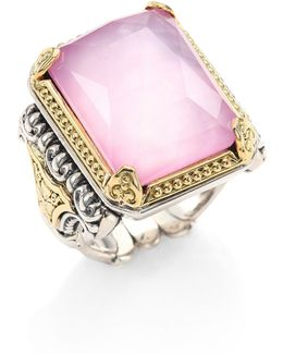 Iliada Pink Mother-of-pearl, Quartz Doublet, 18k Yellow Gold & Sterling Silver Rectangle Ring