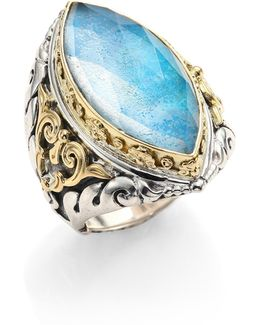 Chrysocolla, Clear Quartz, Sterling Silver & 18k Yellow Gold Marquise Ring
