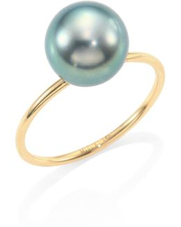 8mm Tahitianblack Pearl & 14k Yellow Gold Ring
