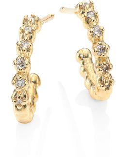 Small Diamond & 14k Yellow Gold Hoop Earrings/0.5