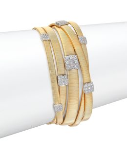 Masai Diamond, 18k Yellow Gold & 18k White Gold Multi-row Bracelet