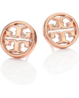 Logo Circle Stud Earrings/rose Goldtone