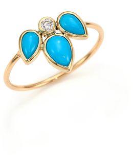 Diamond, Turquoise & 14k Yellow Gold Ring